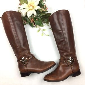 Tory Burch Aaden Brown Leather Riding Boots size 7